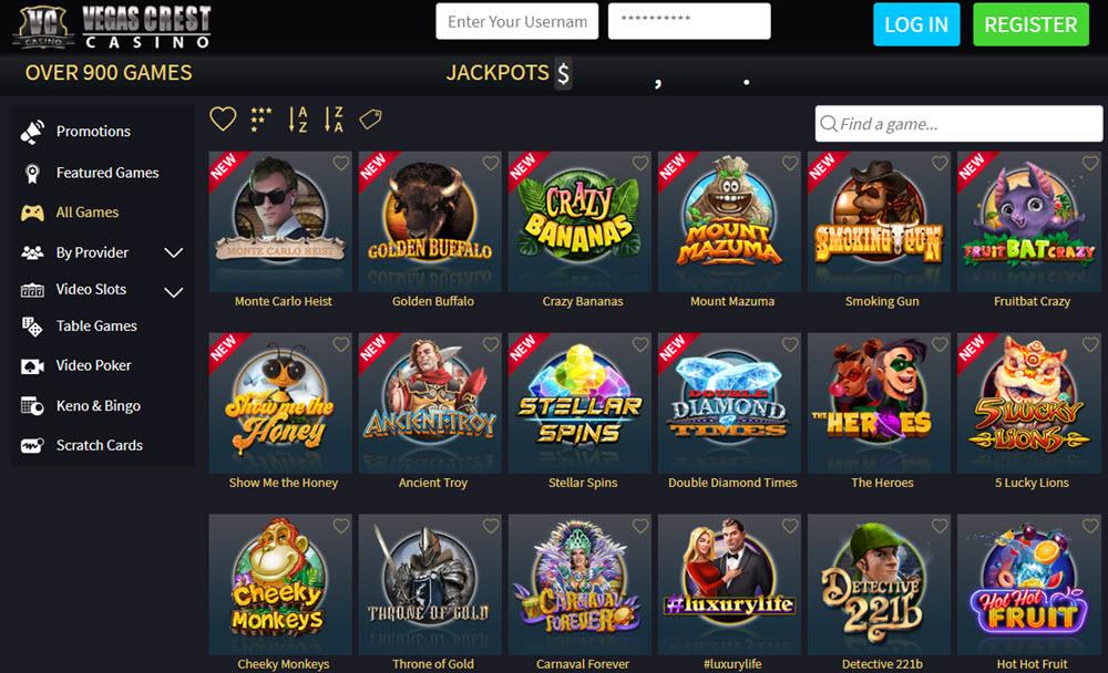 vegas crest casino bonus codes