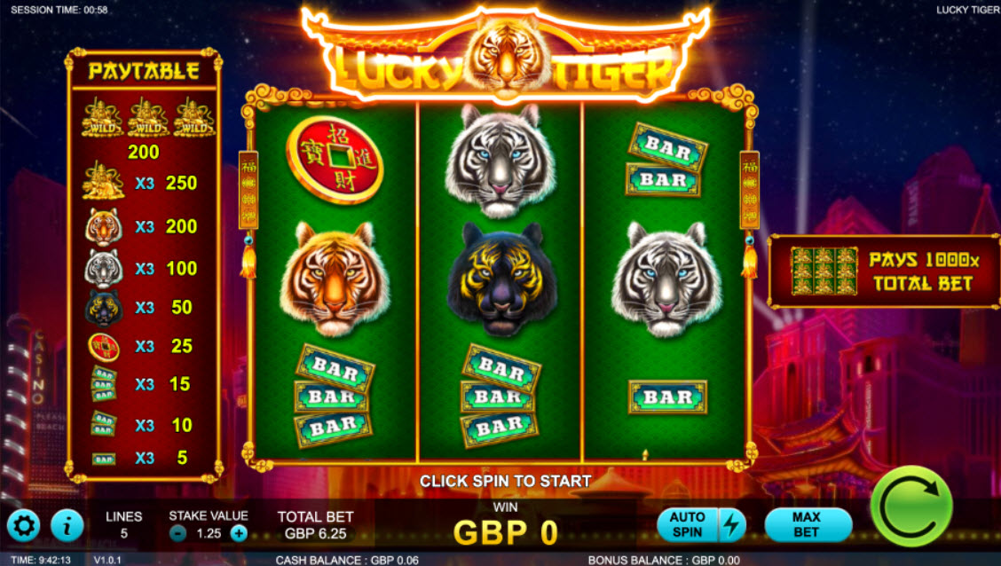 Lucky Tiger Slot Machine